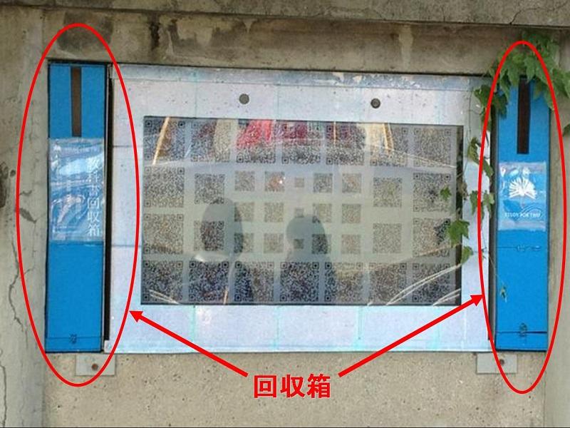 八幡神社前バス停後ろのブルー回収箱