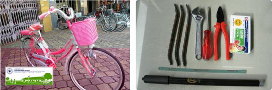 カンボジアの自転車支援品