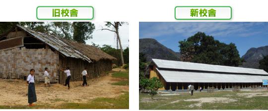 ラオスの旧校舎と新校舎